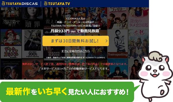毎月1,080円分のポイントがもらえるTSUTAYA TV