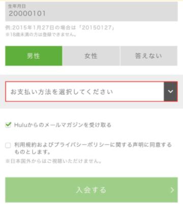 hulu 支払い方法選択