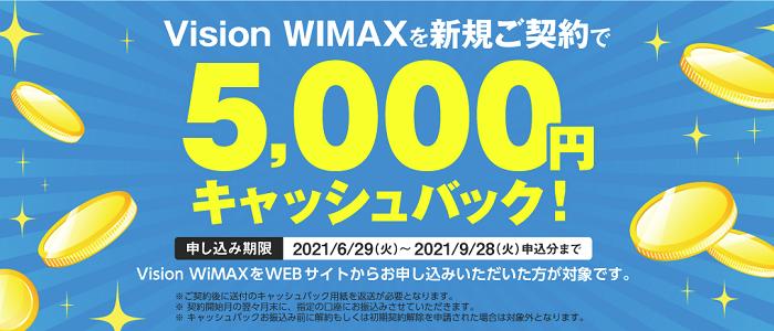 Vison WiMAX キャッシュバック